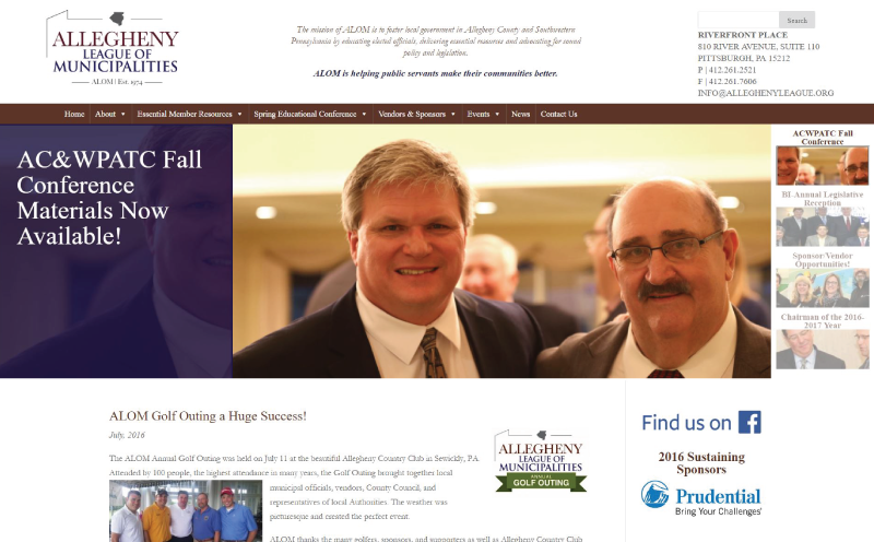 Allegheny League of Municipalities Website Design Home Page Screenshot
