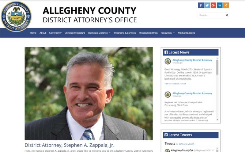 Allegheny County District Attorney's Office Website Design Home Page Screenshot
