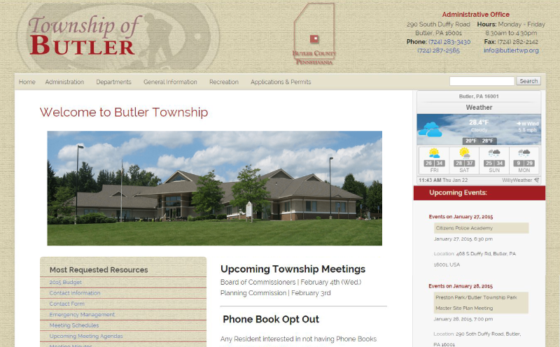 Butler Township Responsive Website Design Home Page Screenshot