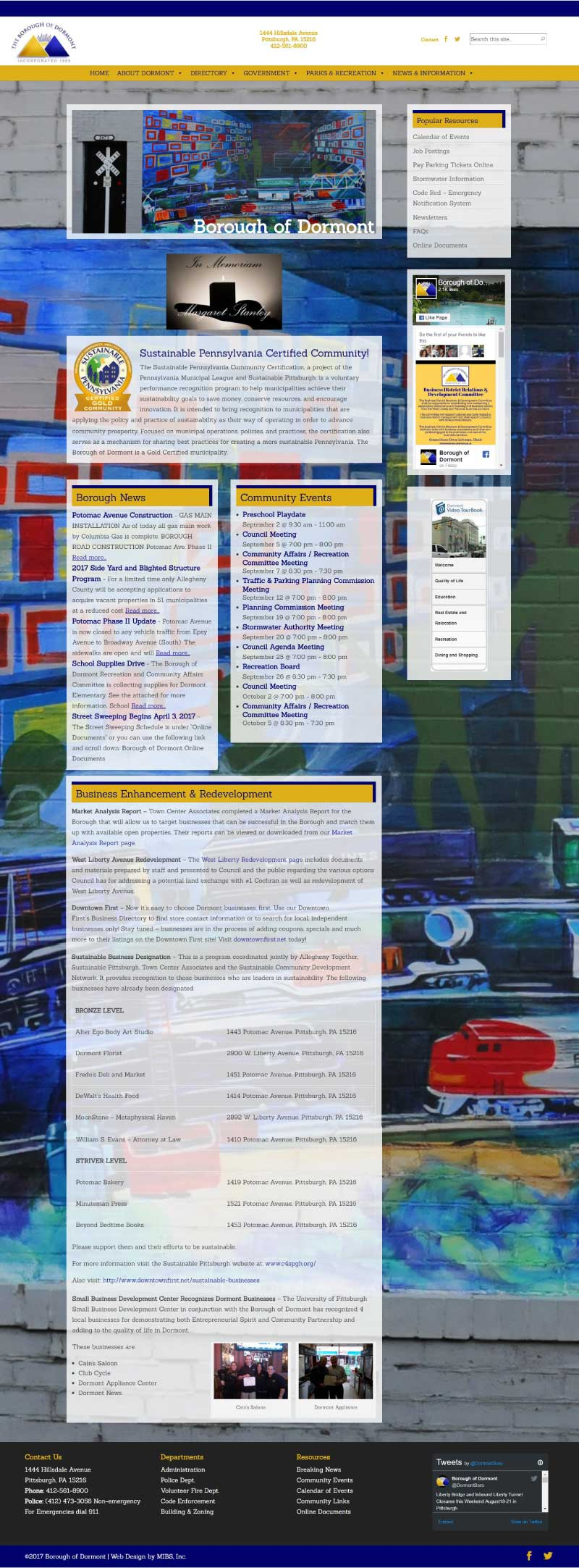 Borough of Dormont New Home Page Website Redesign Full Screenshot