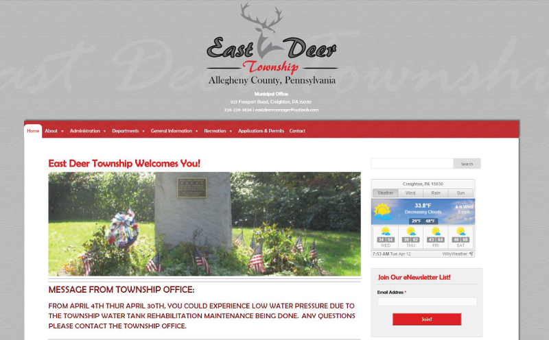 East Deer Township Website Design Home Page Screenshot
