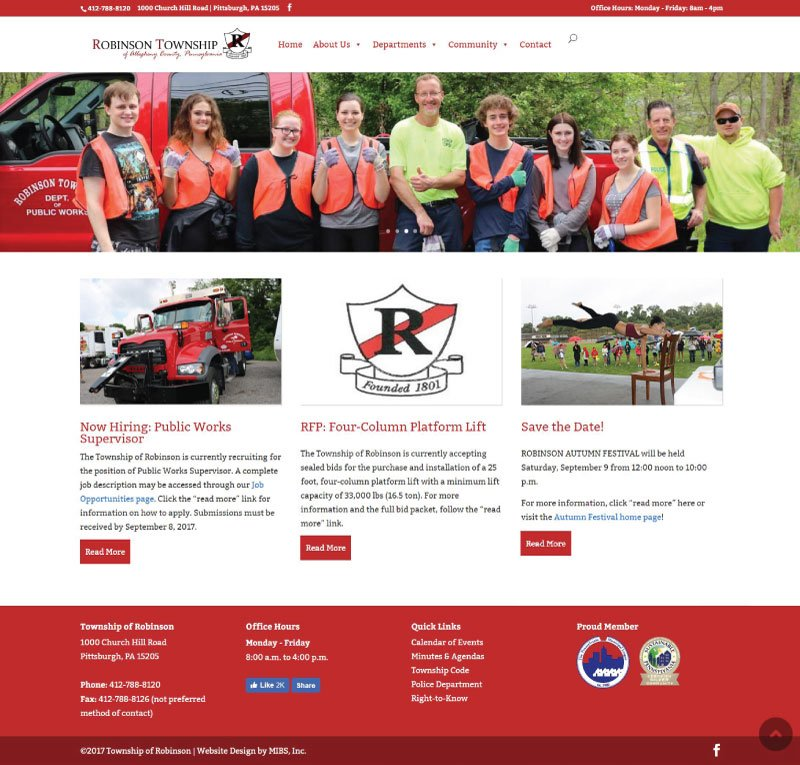 Robinson Township New Home Page Screenshot
