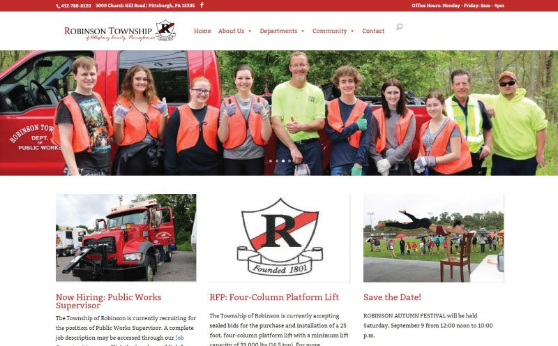 Robinson Township Responsive Website Design Home Page Screenshot