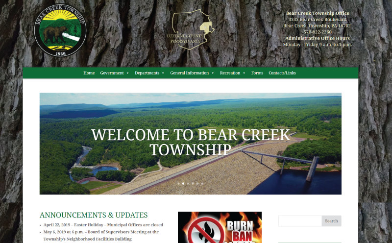 Bear Creek Township Website Design Home Page Screenshot