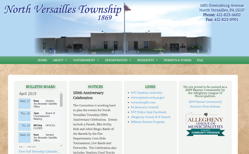 North Versailles Township Website Redesign Home Page Screenshot