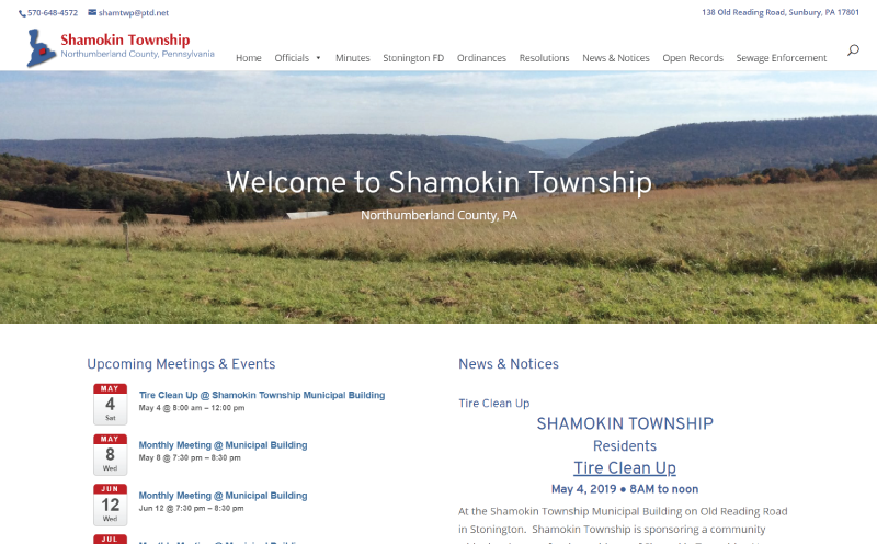 Shamokin Township Website Redesign Home Page Screenshot