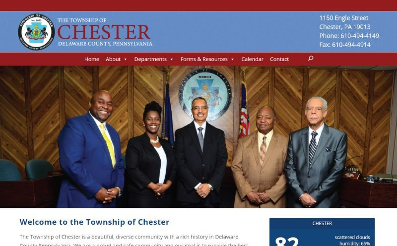 Township of Chester Website Design Home Page Screenshot