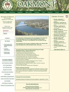 Borough of Oakmont website homepage before redesign.
