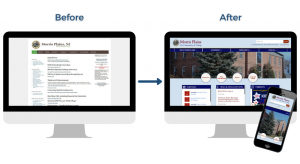 Graphic of the Boroughs homepage before and after the website redesign.